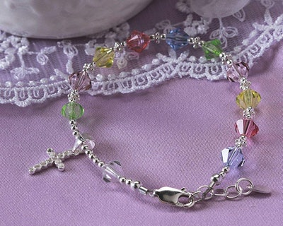 Children's Sterling Silver First Communion Rosary Bracelet with Swarovski Crystals