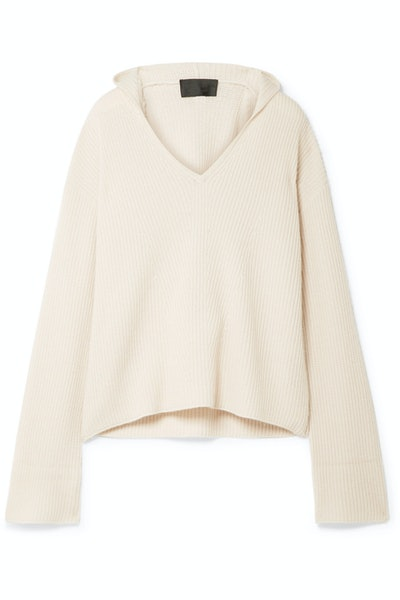 Gillian Hooded Ribbed Cashmere Sweater