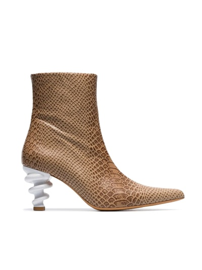 Brown Island 70 Twisted Heel Snake-Effect Leather Boots