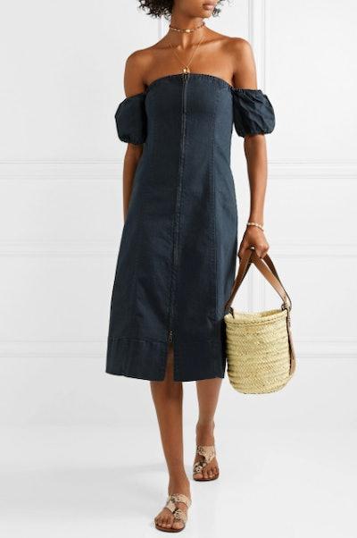 Isla Mujeres Off-The-Shoulder Stretch-Denim Midi Dress