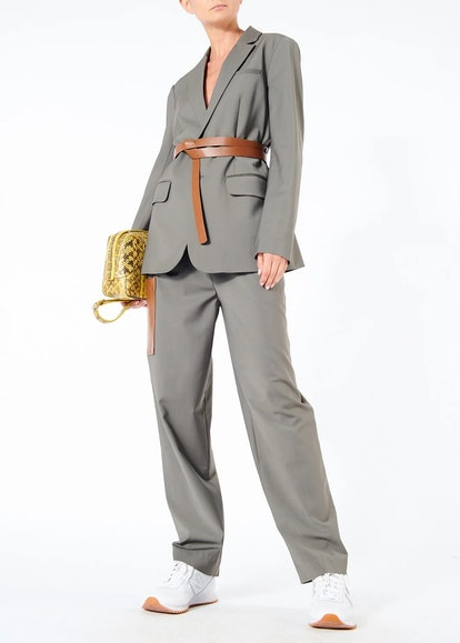 Tablier Plain-Weave Blazer with Removable Belt