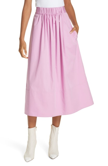 Tibi Satin Waist Poplin Midi Skirt