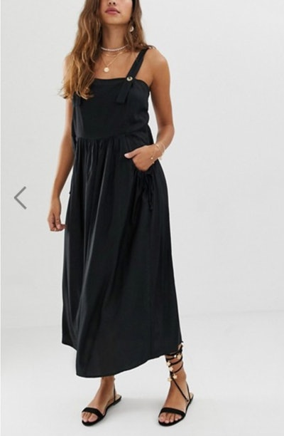Overall Midi Sundress With Pocket Detail