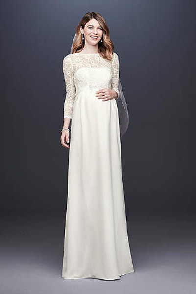 3/4 Sleeve Crepe Sheath Maternity Wedding Dress