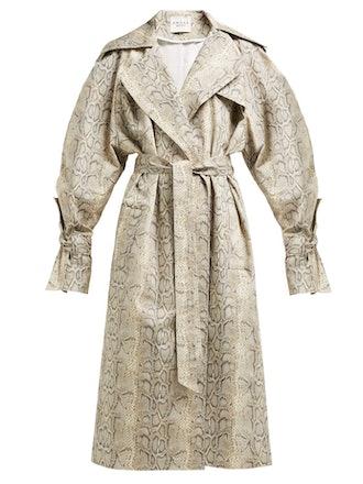 Dana Python-Print Cotton-Blend Trench Coat