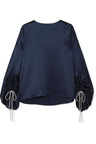 Ruched Silk Satin Blouse