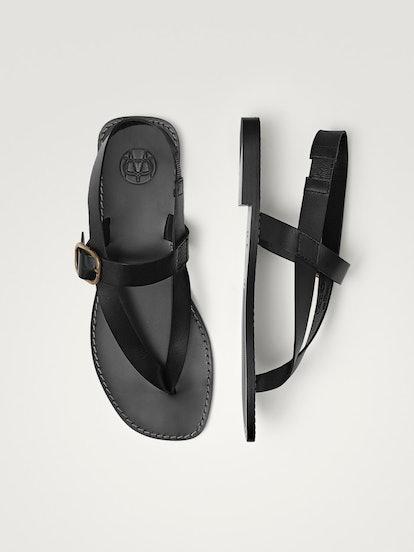 Buckled Black Flat Sandals