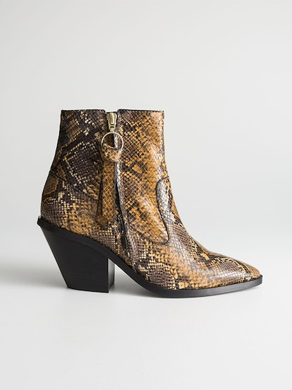 Snake Cowboy Ankle Boots