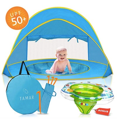 Pop-Up Sun Shelter With Mini Pool and Detachable Shade