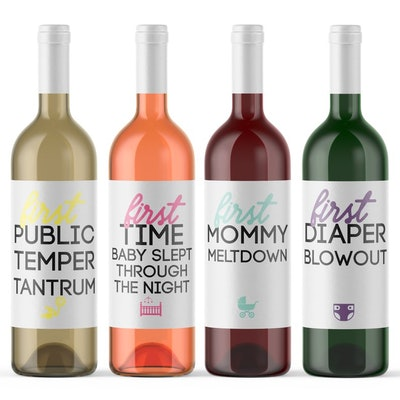 8 Mommy Milestone Wine Bottle Labels