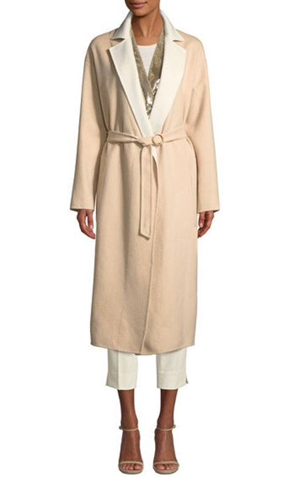 Double-faced Cashmere Mid-Length Robe Coat With Contrast Sequin Inlay