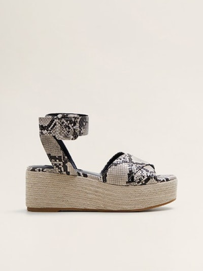 Snake-Effect Wedge Sandals