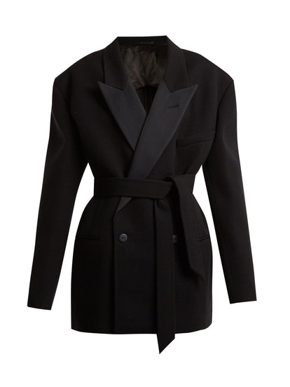 Exaggerated Shoulder Wool-Twill Tux Jacket
