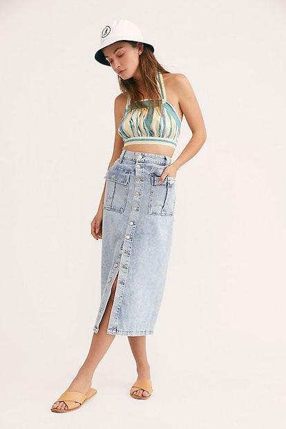 Ava Denim Midi Skirt