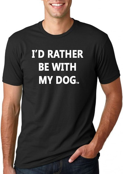 I'd Rather Be With My Dog Unisex Adult Short Sleeve T-Shirt, Black
