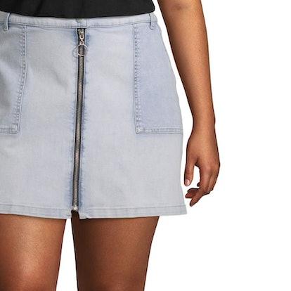 Arizona Womens Low Rise Short Denim Skirt-Juniors Plus
