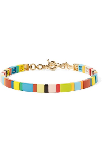 Rainbow Brite gold-tone and enamel choker