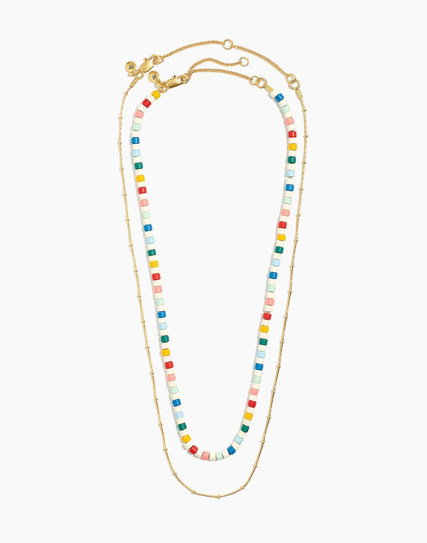 Enamel Beaded Necklace Set