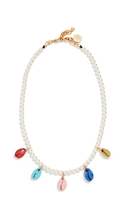 Venessa Arizaga Rainbow Shell Swarovski Crystal Pearl Necklace