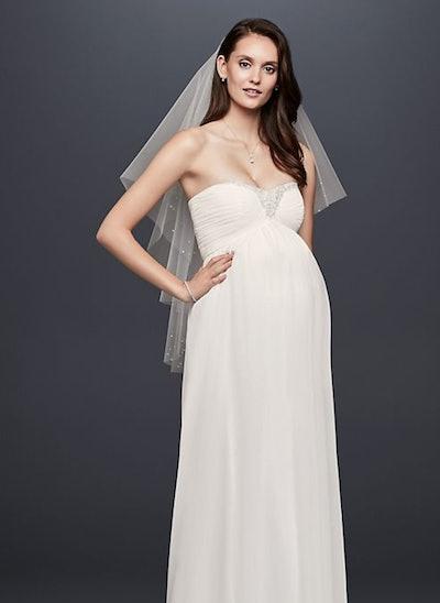 Beaded Chiffon Maternity Wedding Dress