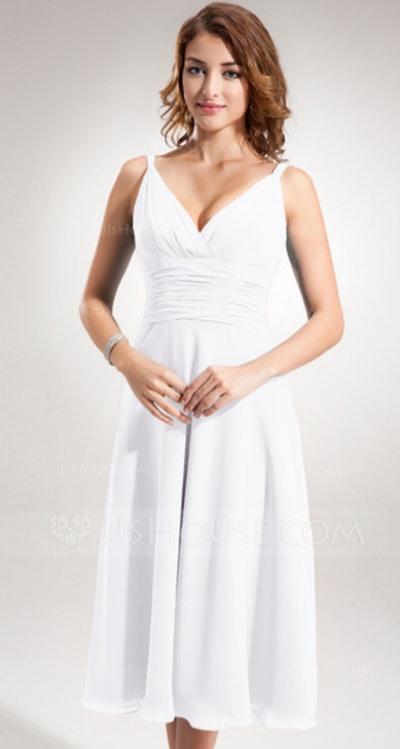 A-Line/Princess V-neck Tea-Length Chiffon Dress With Ruffle