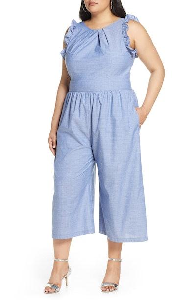 Pleat Neck Cotton Jumpsuit