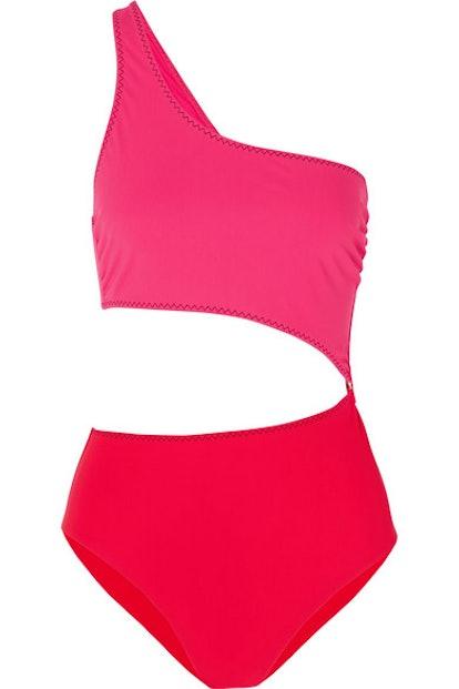 Stella McCartney Cutout one-shoulder two-tone swimsuit