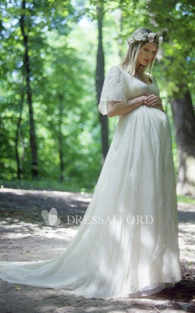 Country V-Neck Short Sleeve Pleated Maternity Wedding Dress