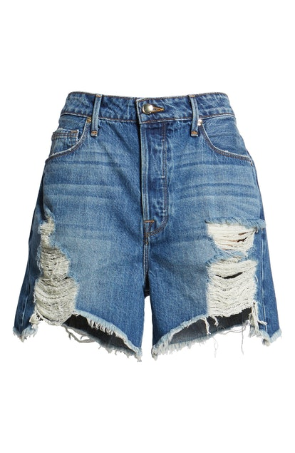 Good American Bombshell Distressed Denim Cutoff Shorts