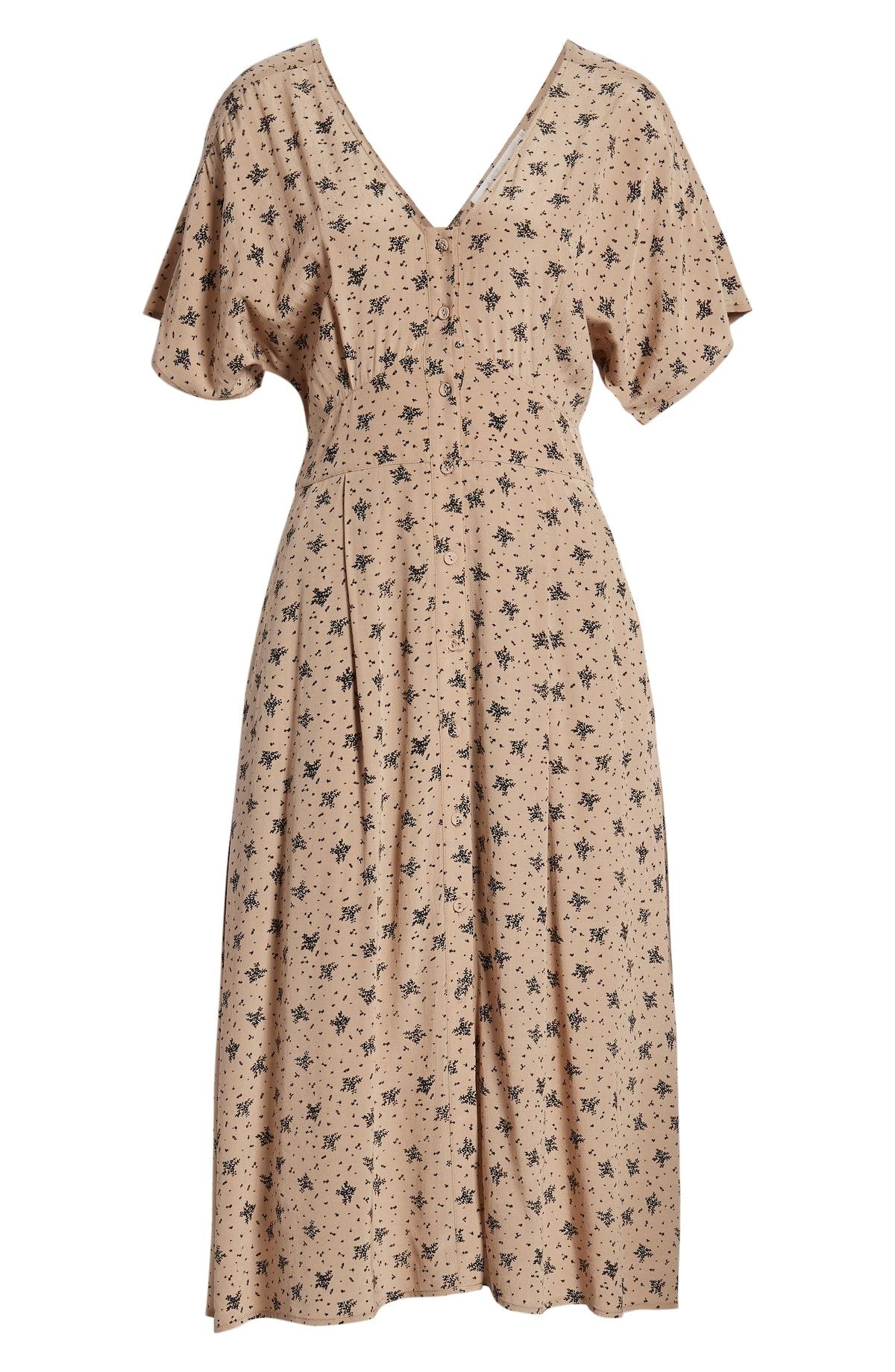 ASTR Dolman Sleeve Button Down Midi Dress