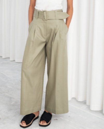 High Waisted Belted Flare Pants