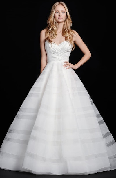 Lily Strapless Taffeta & Tulle Stripe Ballgown by Hayley Paige