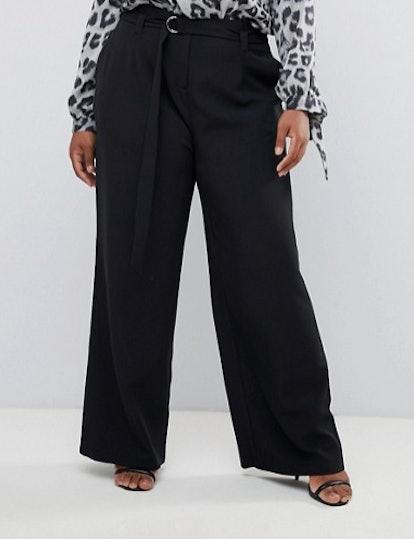 Wide Leg Paper Bag Waist Pants in Black