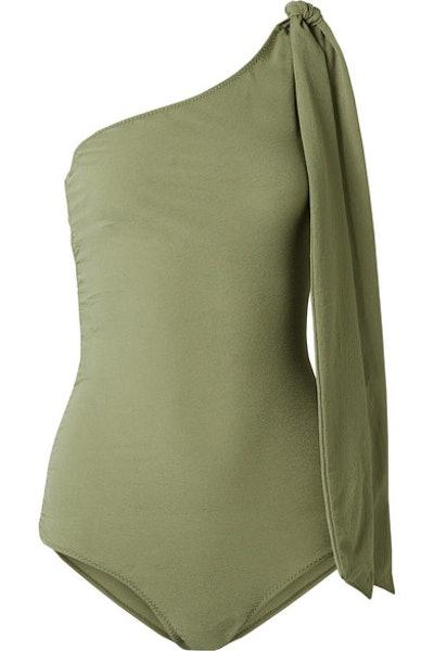 Lisa Marie Fernandez Arden one-shoulder ruched stretch-crepe swimsuit