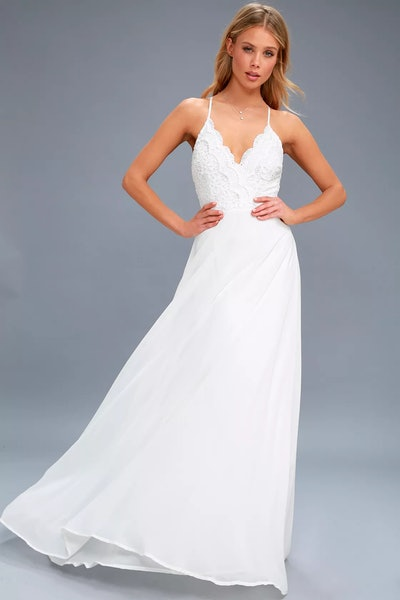 Madalyn White Lace Maxi Dress