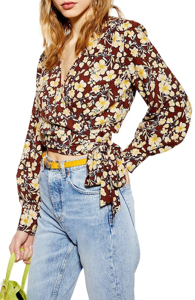 Floral Wrap Cropped Blouse