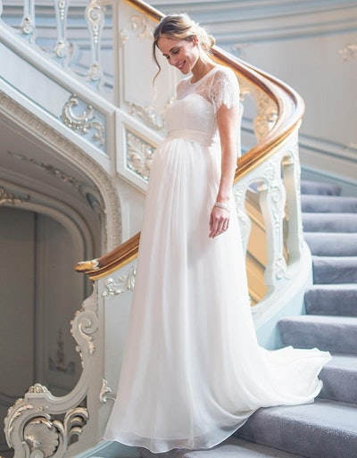 Ivory Lace & Silk Maternity Gown