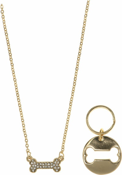 Pet Friends Pave Bone Pendant with Matching Charm, Gold