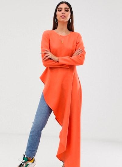Verona Aysmetric Long Sleeved Top In Orange