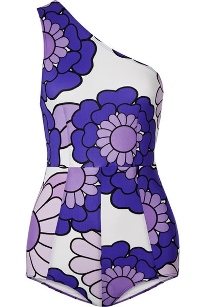 Dodo Bar Or One-shoulder floral-print swimsuit
