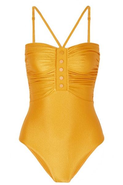 Zimmerman Allia ruched metallic swimsuit