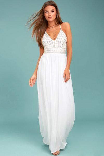 Meet Me In Madrid White Beaded Maxi Dress