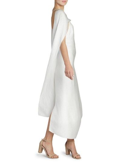 Hammered Silk Draped Open Back Dress