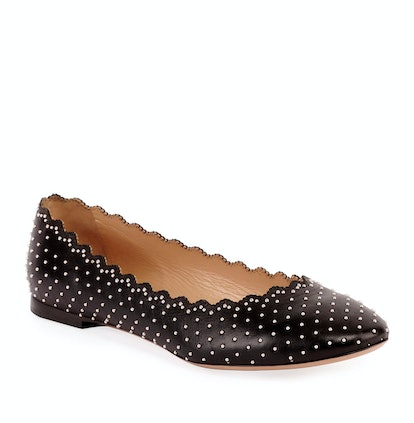Lauren Scalloped Ballet Flats with Silver Studs