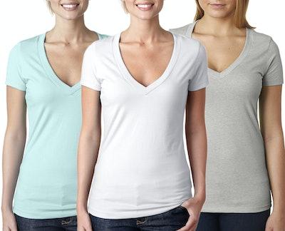 Women's Clementine Deep V Neck T-Shirt (Pack of 3)