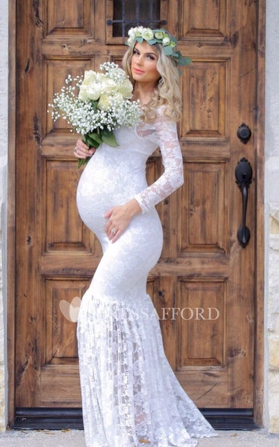 Mermaid Scoop Pleated Long Sleeve Floor Length Lace Maternity Dress