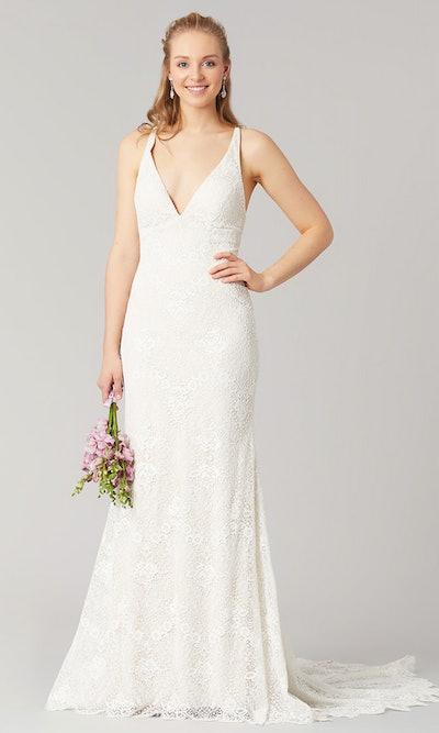 Kate V-Neck Lace Corset Back Wedding Dress