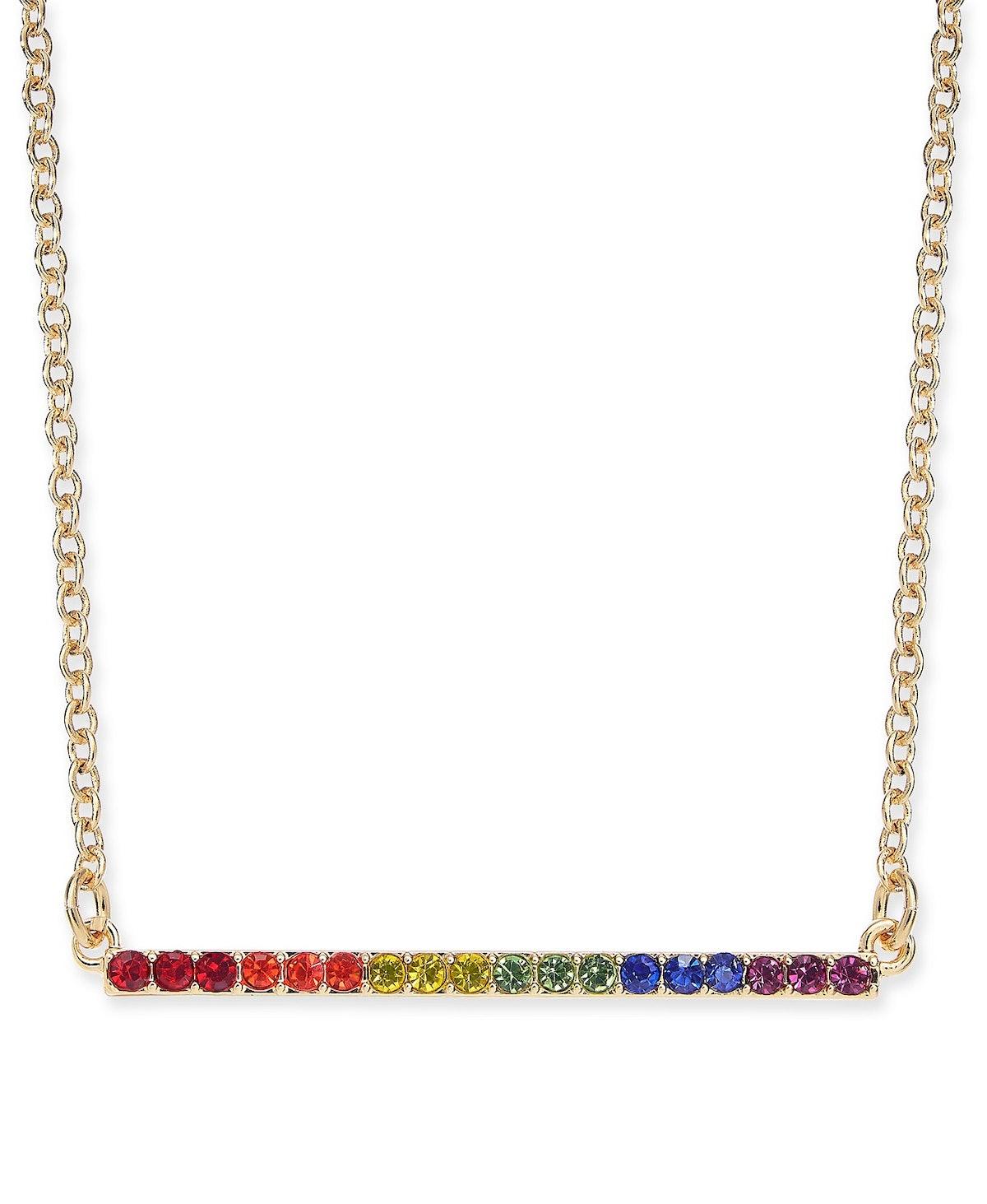 I.N.C. Gold-Tone Crystal Rainbow Horizontal Bar Pendant Necklace