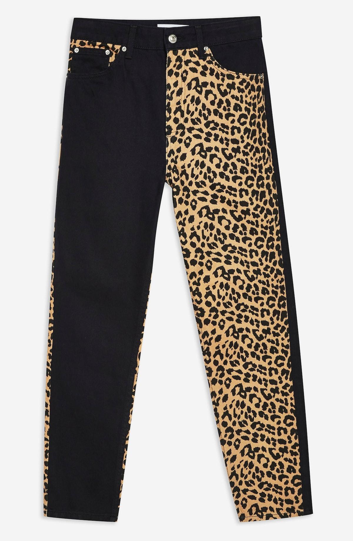 Topshop Leopard Panel Mom Jeans