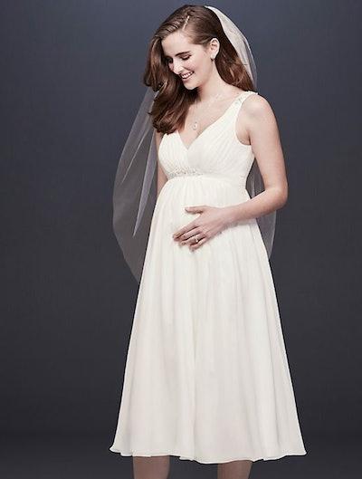 Tea-Length Chiffon V-Neck Maternity Wedding Dress